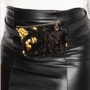 Handbags - Black & gold sequin fanny pack